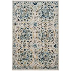 Evoke Ivory/Blue 5 ft. 1 in. x 7 ft. 6 in. Area Rug