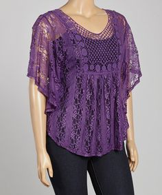 Another great find on #zulily! Purple Sheer Lace Cape-Sleeve Top - Plus #zulilyfinds