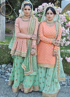 orange and blue patiala suit Gharara Designs, Lehenga Designs, Punjabi Fashion, Indian Fashion, Women's Fashion, Indian Attire, Indian Wear, Pakistani Outfits, Indian Outfits