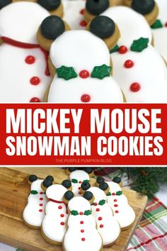 These Snowman Mickey Mouse Gingerbread Cookies will wow your guests during the holidays - they look like they've come straight out of a Disney Park! Disney Christmas, Christmas Candy, Christmas Desserts, All Things Christmas, Christmas Cookies, Christmas Recipes, Merry Christmas, Snowman Cookies, Gingerbread Cookies