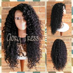 On Long Beach Curly Lace Front Wig Black Curly Wig Big Curly Hairstyle... ($105) ❤ liked on Polyvore featuring beauty products, haircare, hair styling tools, hair, bath & beauty, grey, hair care, wigs and curly hair care