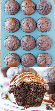Chocolate Lover's Chocolate Chocolate-Chip Muffins with Nutella - Chocolate for breakfast or a snack sounds like a good idea to me!