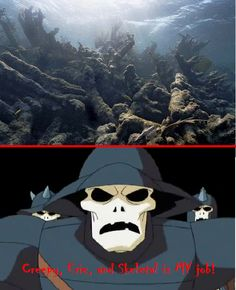 Bleached coral reef vs. Creepy skeleton  http://media-3.web.britannica.com/eb-media/92/162992-004-BB3EF3E4.jpg  http://img3.wikia.nocookie.net/__cb20130705181254/scoobydoo/images/4/4b/Skeleton_gladiators_(Cyber_Chase).png