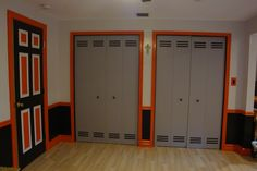 """""""Locker"""" closet doors.  They're really just plain old bi-folds.  We'll be adding some finishing touches to these as well."""