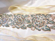 Bridal Sash Wedding Embroidered Belt Cummerbund Golden Ribbon  Prom Party