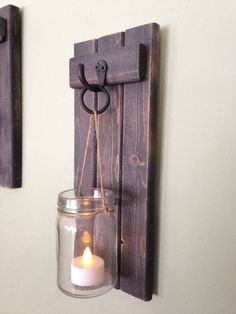 This beautiful SET OF WEATHERED BLACK, Mason Jar candle holders were individually handmade in the Cove wood shop! This purchase for a SET OF 2 includes, 2 wooden wall sconces, 2 Mason jars, and 2 battery operated candles. Each sconce is approximat Mason Jar Candle Holders, Rustic Candle Holders, Mason Jar Candles, Mason Jar Diy, Diy Candles, Mason Jar Sconce, Wall Candle Holders, Candle Lanterns, Rustic Wall Sconces