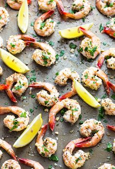 Roasted Garlic Parmesan Shrimp - Just 20 minutes is all it takes for the most savory and flavorful shrimp! Serve as an appetizer or a quick seafood dinner. Just 20 minutes is all it takes for the most savory and flavorful roasted shrimp! Creamy Garlic Parmesan Sauce, Garlic Parmesan Chicken, Fried Shrimp Recipes, Seafood Recipes, Roasted Sweet Potatoes, Roasted Garlic, Roasting Garlic In Oven, Shrimp Fettuccine, Shrimp And Asparagus