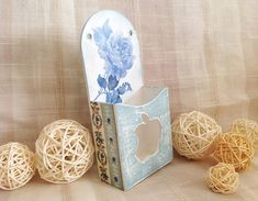 Wall IPhone Holder, Wooden Dock in Provence Style, Blue Roses Design Phone Stand, Decored  IPhone Gear, Decoupage Holder for Wife's Birthday
