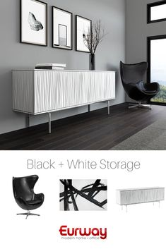 Set aside a space for storage and relaxed reading at your home or professional office, and make it beautiful with a sculptural centerpiece and a black and white palette. Shop this collection and more…More Apartment Furniture, Living Room Furniture, Home Furniture, Wooden Furniture, Furniture Ideas, Antique Furniture, Kitchen Furniture, Smart Furniture, Retro Furniture