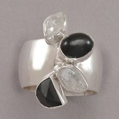 Lilly Barrack Black CZ and Herkimer Diamond Ring