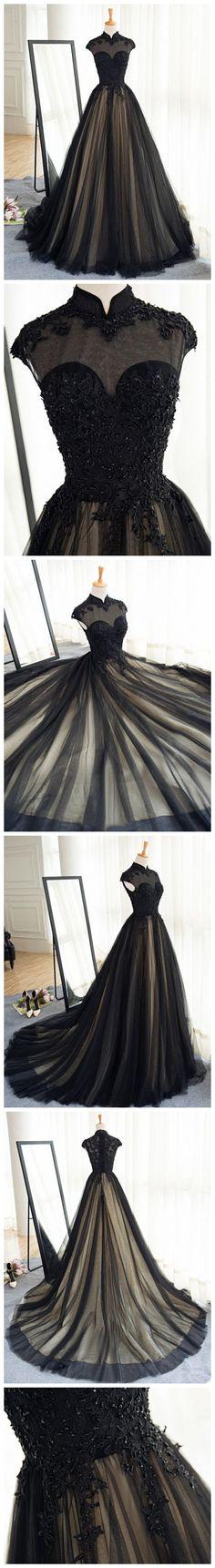 CHIC A-LINE HIGH NECK BLACK TULLE FLOOR LENGTH MODEST PROM DRESS EVENING DRESS AM565