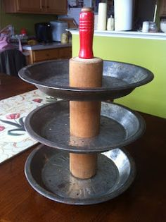 Rolling pin treat holder & Mamie Janeu0027s: Tiered Pie Plate Stand - Part II..love this a rolling ...