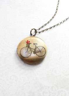 Bicycle Locket Necklace Travel Jewelry French by apocketofposies