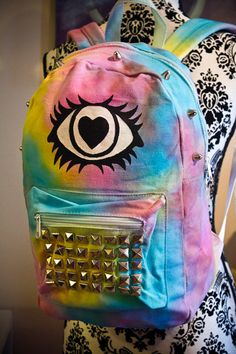 Cyclops Backpack  TieDye Hand Painted with Studs by Octopug, $40.00