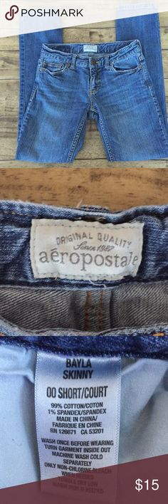 Aeropostale Jeans Aeropostale Skinny Jeans size 00 SHORT. Good condition ! Some wear on pockets and pictures of stretch marks. Pet friendly and smoke free home. Aeropostale Jeans Skinny