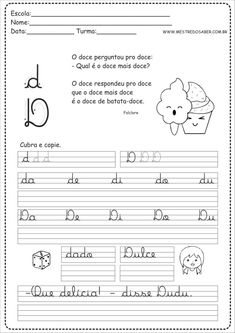 4 - Caderno de Caligrafia letra D Albert Camus, Digital Scrapbook Paper, Power Rangers, Back To School, Math Equations, Blog, Infant Activities, Handwriting Books, Handwriting Exercises