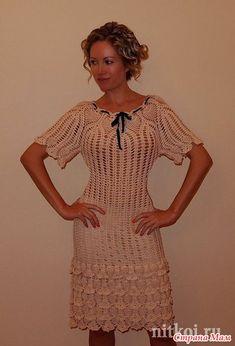 crochet dress patterndetailed tutorialcrochet by ThePoshCrochet Crochet Summer Dresses, Summer Dress Patterns, Crochet Lace Dress, Lace Ruffle, Dress Lace, Crochet Wedding, Crochet Clothes, Boho Dress, Short Sleeve Dresses