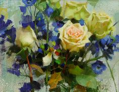 Roses and Delphiniums by Daniel J. Keys
