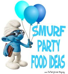 Lets talk about some Smurf Party Food Ideas for your Smurfs Birthday Party. I am going to share with you lots of fun Smurfy Treats for inspiration right here ! Birthday Party Tables, 4th Birthday Parties, Boy Birthday, Birthday Ideas, Birthday Cake, Fun Party Games, Slumber Parties, Party Treats, Childrens Party
