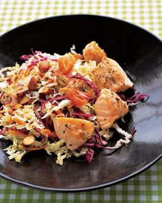 Asian Salad with Salmon Recipe -- Ready in under 30 minutes!! #salad #salmon #fish #protein #healthy #food #recipe #protein #vegetarian #tips