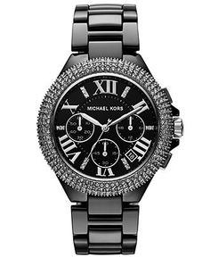 Michael Kors Watch, Womens Chronograph Camille Black Ceramic Bracelet 43mm MK5844 - Michael Kors - Jewelry  Watches - Macys shop.thegoodbags.com  $67   mk Outlet, mk  Handbags, mk Outlet. Cool price $161.99.  Save: 84% off