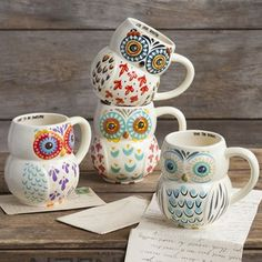Such pretty owl mugs. Order your own at naturallife.com along with plenty of bohemian bracelets, clothes, and accessories.