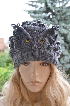 Crocheted knitted gray owl  cap hat beanie   great by DosiakStyle