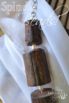 "A necklace made from spindle ""beads!""  Cutting up old spindles into a DIY necklace.  Country Design Style"