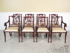 36230 Set 8 Federal Lyre Back Style Mahogany Dining Room Chairs New