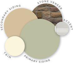 Mastic color palette, vintage moxy, quest vinyl siding, louvered shutters, designer accents, trim, ridgestone stone veneer, coordinating colors