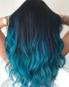 Pretty Hair Color, Beautiful Hair Color, Ombre Hair Color, Hair Color For Black Hair, Blue Hair Colour, Black Blue Ombre Hair, Turquoise Hair Color, Bright Blue Hair, Dyed Hair Ombre