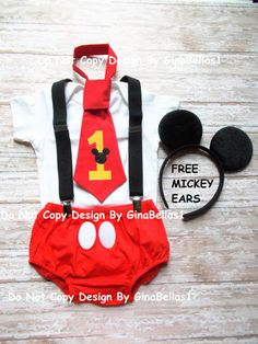 Mickey Mouse Birthday cake smash outfit suspenders FREE Ears first RED I am one tie diaper cover Bodysuit is NOT included 9 12 18 24 toddler Micky Mouse Bebe, Bolo Do Mickey Mouse, Mickey Mouse Theme Party, Mickey Mouse Clubhouse Party, Mickey Mouse Clubhouse Birthday, Mickey Birthday, Minnie, Cake Birthday, Baby Boy 1st Birthday