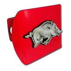 University of Arkansas Running Hog on Red Hitch Cover . Made in the USA. A step above in quality and appearance.