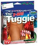 Dont be fooled by cheap imitations—only the Tuggie keeps your hands-free and your junk covered anywhere you go. Ordinary tube socks work great but they look terrible. The stylish candy cane-print Tuggie wraps around your pleasure rod and sack allowing you to let your stuff hang in any setting you can imagine. Wear it on the plane in cold movie theaters at the ball game on vacation or to the beach--it doesn't matter you still look and feel great.