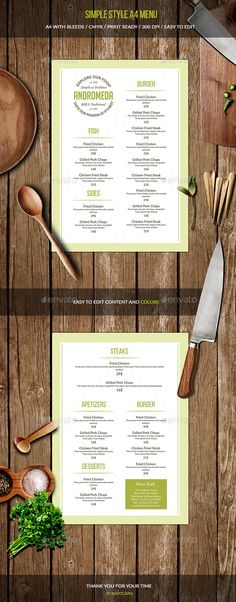Simple Style A4 Menu Template PSD. Download here: https://graphicriver.net/item/simple-style-a4-menu/17451767?ref=ksioks