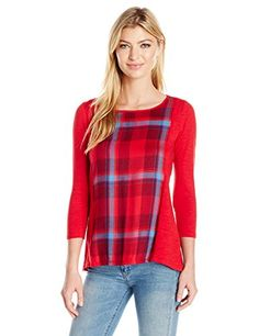 Lucky Brand Women's Plaid Split Back Top, Red Multi, Smal...