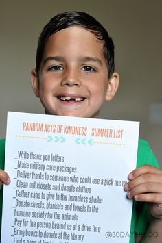Random Acts of Kindness Summer List  - This is SO nice!!! Totally printing it for my kids for this summer