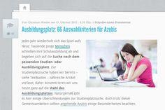 66 Tipps und Kriterien für die Ausbildungsplatzsuche. Quelle; http://karrierebibel.de/ausbildungsplatz-66-auswahlkriterien-fuer-azubis/