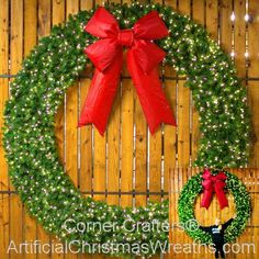 8 Foot inch) L. Christmas Wreath with Large Red Bow Battery Operated Christmas Wreath, Pre Lit Christmas Garland, Best Outdoor Christmas Decorations, Large Christmas Wreath, Christmas Wreaths With Lights, Lighted Wreaths, Artificial Christmas Wreaths, Christmas Greenery, Decorating With Christmas Lights
