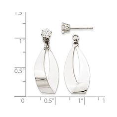 327e222f7 14k White Gold Polished Oval Dangle with Synthetic CZ Stud Earring Jackets  1IN x 04IN -