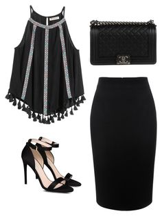 """""""black"""" by saskiaindr on Polyvore featuring STELLA McCARTNEY, Alexander McQueen and Chanel"""