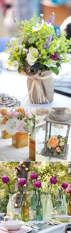 Centros de flores para fiestas en el jardin: