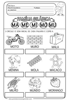Pre K Activities, Educational Activities, Bilingual Education, Kids Education, Portuguese Lessons, Apraxia, Tracing Worksheets, Syllable, Letters
