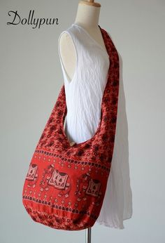 Red  Indian Elephant Printed Cotton Bag Hippie by Dollypun on Etsy