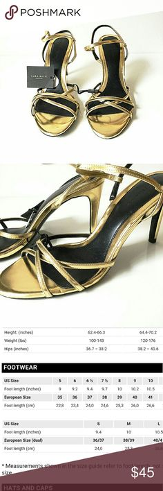 Zara Basic Collection Gold Strappy Heels New with original tags. There is a blemish on one heel where the gold peeled off close to sole. I took the picture (3rd shot), but it isn't visible in shot.  Size 40 which according to the Zara sizing chart is US size 9. (See chart) Smoke and pet free home. Ships within one day. Zara Shoes Heels