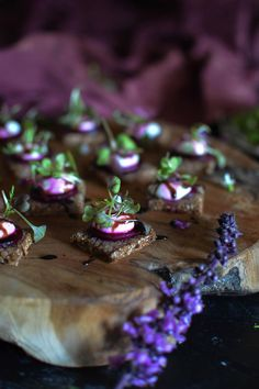 Goat cheese & baby beet canapé. So quick and easy to prepare, and so pretty!