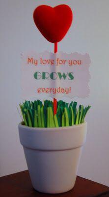 Foam Heart Sticks + Pot + Fake Grass = Cute