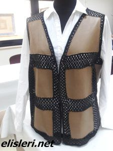 Yün ve Kumaş Birleşimi Yelek Modeli – El İşlerimiz Leather And Lace, Crochet Patterns, Sewing, Clothes, Women, Islam, Website, Fashion, Sweater Vests