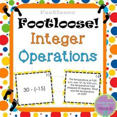 Integer Task Cards - Footloose Activity:Using the task cards in Integer Operations Footloose is a fantastic way to get students moving while they are reviewing concepts!This product offers:* high level of student engagement* easy prep for teachers* 30 cards that have problems with both positive and negative integers; all four operations are included.