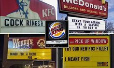 Anal croissant anyone? Pranked fast food signs revealed